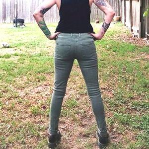 Army Green Skinny Denim Jeans - Size 6
